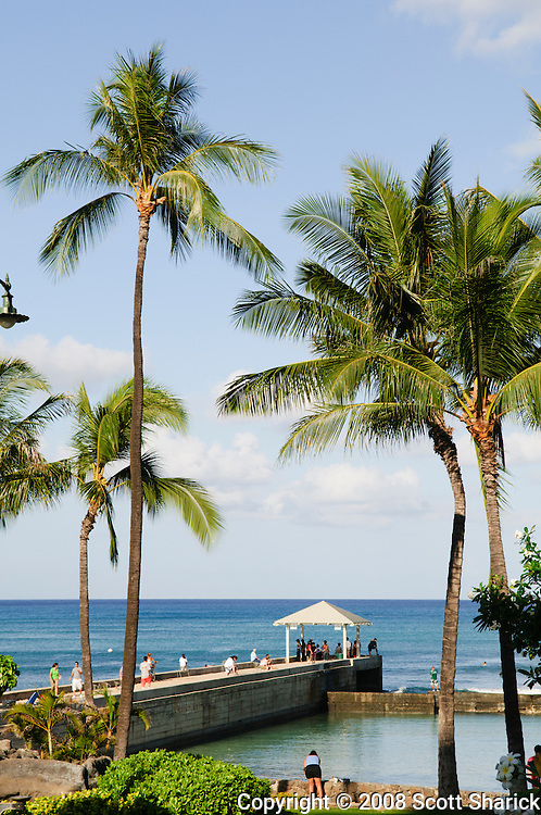 A vertical image of the Kapahulu Groin in Waikiki, Hawaii.