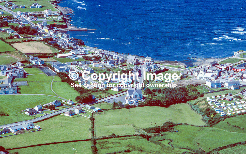Aerial photograph, Bundoran, Co Donegal, Rep of Ireland, 19790164d.<br /> <br /> Copyright Image from Victor Patterson, Belfast, UK<br /> <br /> t: +44 28 9066 1296 (from Rep of Ireland 048 9066 1296)<br /> m: +44 7802 353836<br /> e: victorpattersonbelfast@gmail.com<br /> <br /> www.images4media.com<br /> <br /> Please see my full Terms and Conditions of Use at https://www.images4media.com/p/terms-conditions - it is IMPORTANT that you familiarise yourself with them.<br /> <br /> Images used online incur an additional cost. This cost should be agreed in writing in advance. Online images must be visibly watermarked i.e. © Victor Patterson or that of the named photographer within the body of the image. The original metadata must not be deleted from images used online.<br /> <br /> This image is only available for the use of the download recipient i.e. television station, newspaper, magazine, book publisher, etc, and must not be passed on to a third party. It is also downloaded on condition that each and every usage is notified within 7 days to victorpattersonbelfast@gmail.com.<br /> <br /> The right of Victor Patterson (or the named photographer) to be identified as the author is asserted in accordance with The Copyright Designs And Patents Act (1988). All moral rights are asserted.