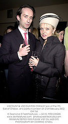 VISCOUNT & VISCOUNTESS CRANLEY son of the 7th Earl of Onslow, at a party in London on 21st February 2002.OXT 54