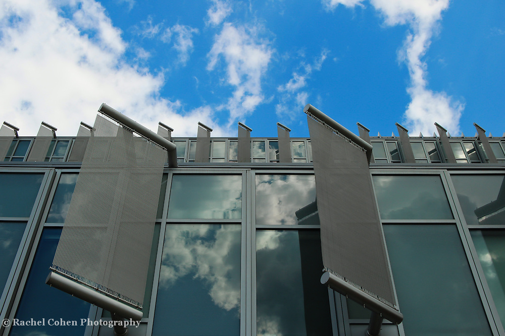 """""""Deflecting""""<br /> <br /> Panels, windows, sky and reflections on the science building at Eastern Michigan University!!<br /> <br /> Architecture: Structures and buildings by Rachel Cohen"""