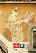 A mural of a monk on a building in Prague, Czech Republic