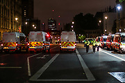 June 4, 2020, London, England, United Kingdom: A general view of Whitehall road looking towards parliament square is filled with police vans who are clearing off the road from protestors after long hours of clashes and attempts to maintain peace in central London on Thursday, June 4, 2020. (Credit Image: © Vedat Xhymshiti/ZUMA Wire)