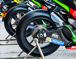 October 20, 2017 - Melbourne, Victoria, Australia - Monster Yamaha Tech 3 bikes are warmed up before the first free practice session of the MotoGP class at the 2017 Australian MotoGP at Phillip Island, Australia. (Credit Image: © Theo Karanikos via ZUMA Wire)