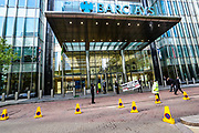 Three members of the Extinction Rebellion environmental activist group participated in a spray action, spraying in a dark colour Barclays HQ building in Canary Wharf on Thursday, May 7, 2020. Barclays is the biggest European financier of fossil fuel companies. (Photo/ Vudi Xhymshiti)