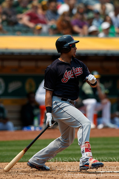 OAKLAND, CA - JULY 01:  Michael Brantley #23 of the Cleveland Indians at bat against the Oakland Athletics during the third inning at the Oakland Coliseum on July 1, 2018 in Oakland, California. The Cleveland Indians defeated the Oakland Athletics 15-3. (Photo by Jason O. Watson/Getty Images) *** Local Caption *** Michael Brantley