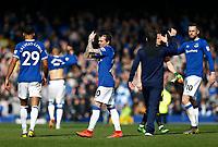 Football - 2018 / 2019 Premier League - Everton vs. Arsenal<br /> <br /> Bernard, Everton manager Marco Silva and Gylfi Sigurdsson celebrate at full time, at Goodison Park.<br /> <br /> COLORSPORT/ALAN MARTIN
