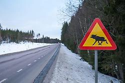 THEMENBILD - ein Verkehrsschild mit einem Elch auf einer Landstrasse, nahe Falun, Dalarna, Schweden, aufgenommen am 16. Februar 2015 // a traffic sign with a moose, near Falun, Dalarna, Sweden on 2015/02/16. EXPA Pictures © 2015, PhotoCredit: EXPA/ JFK