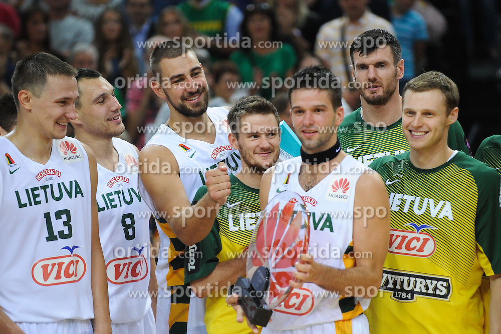 Mantas KALNIETIS and other players of Lithuania with a trophy after the friendly match between National Teams of Slovenia and Lithuania before World Championship Spain 2014 on August 18, 2014 in Kaunas, Lithuania. Photo by Robertas Dackus / Sportida.com