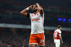 Blackpool's Liam Feeney reacts during the Carabao Cup, Fourth Round match at the Emirates Stadium, London.