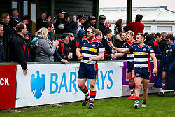 Alex Giltrow and Andy Uren of Bristol Rugby thank fans after a bonus point win  - Rogan/JMP - 28/10/2017 - RUGBY UNION - Stade Santander International - St Peter, Jersey - Jersey Reds v Bristol Rugby - Greene King IPA Championship.