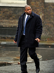 © Licensed to London News Pictures. 22/02/2012, London, UK. John Barnes arrives for the summit. The UK Prime Minister holds a summit at Downing Street on racism in football. Photo credit : Stephen Simpson/LNP