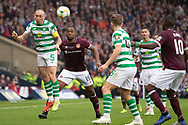 Celtic Captain Scott Brown wins a header during the William Hill Scottish Cup Final match between Heart of Midlothian and Celtic at Hampden Park, Glasgow, United Kingdom on 25 May 2019.