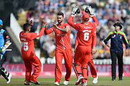 Zahir Kahn,Jos Buttler and Jordan Clark of Lancashire Lightning celebrate the wicket of Daryl Mitchell during the Vitality T20 Finals Day Semi Final 2018 match between Worcestershire Rapids and Lancashire Lightning at Edgbaston, Birmingham, United Kingdom on 15 September 2018.