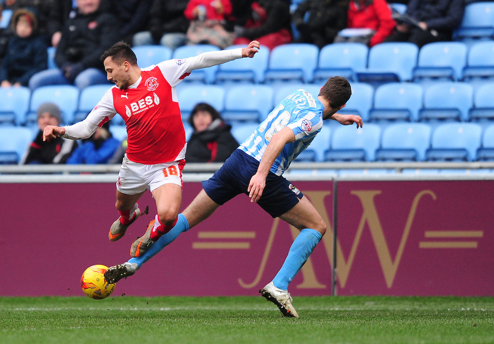 Fleetwood Town's Antoni Sarcevic is tackled by Coventry City's Sam Ricketts<br /> <br /> Photographer Chris Vaughan/CameraSport<br /> <br /> Football - The Football League Sky Bet League One - Coventry City v Fleetwood Town - Saturday 27th February 2016 - Ricoh Stadium - Coventry   <br /> <br /> © CameraSport - 43 Linden Ave. Countesthorpe. Leicester. England. LE8 5PG - Tel: +44 (0) 116 277 4147 - admin@camerasport.com - www.camerasport.com
