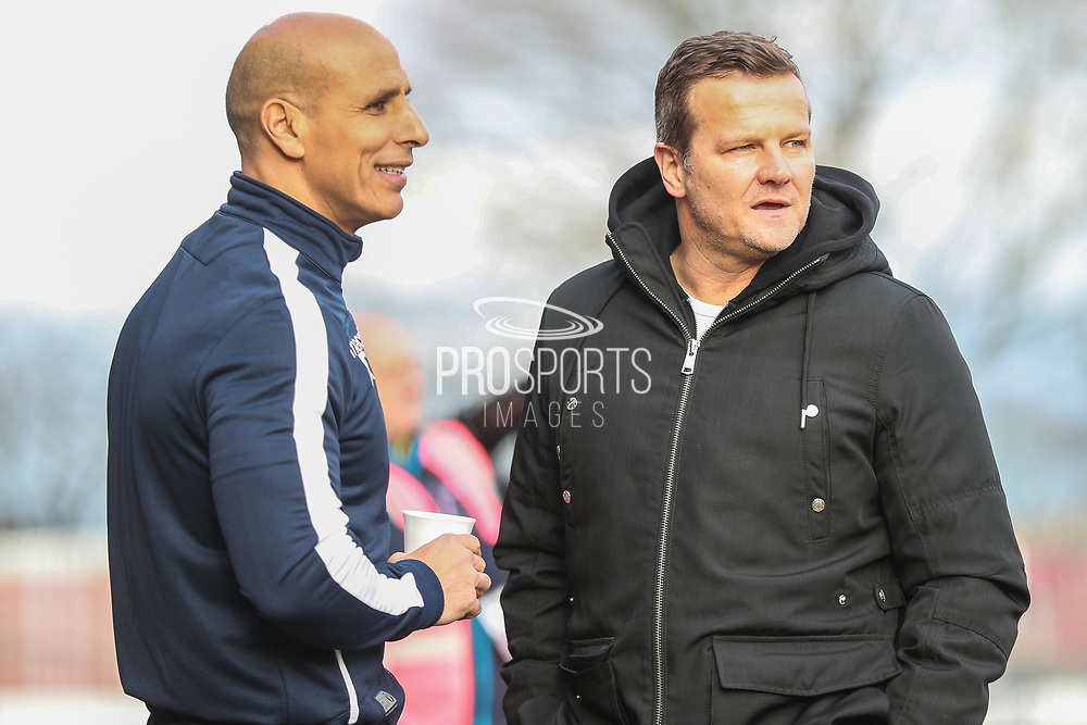Stevenage manager Dino Maamria  and Forest Green Rovers manager, Mark Cooper during the EFL Sky Bet League 2 match between Stevenage and Forest Green Rovers at the Lamex Stadium, Stevenage, England on 26 January 2019.