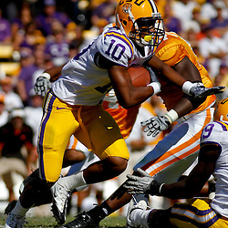 Oct 2, 2010; Baton Rouge, LA, USA;LSU Tigers wide receiver Russell Shepard (10) runs against the Tennessee Volunteers during the first quarter at Tiger Stadium. LSU defeated Tennessee 16-14.  Mandatory Credit: Derick E. Hingle