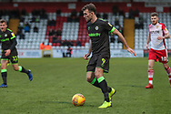 Forest Green Rovers Christian Doidge(9) on the ball during the EFL Sky Bet League 2 match between Stevenage and Forest Green Rovers at the Lamex Stadium, Stevenage, England on 26 January 2019.