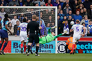 Craig MacGillivray of Portsmouth saves a free kick during the EFL Sky Bet League 1 match between Wycombe Wanderers and Portsmouth at Adams Park, High Wycombe, England on 6 April 2019.