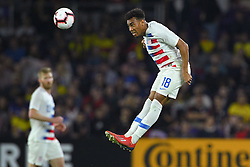March 21, 2019 - Orlando, Florida, USA - US midfielder Jonathan Lewis (18) goes airborne for a ball during an international friendly between the US and Ecuador at Orlando City Stadium on March 21, 2019 in Orlando, Florida. .The US won the game 1-0...©2019 Scott A. Miller. (Credit Image: © Scott A. Miller/ZUMA Wire)