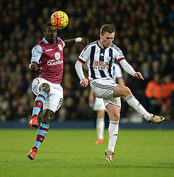 Idrissa Gueye of Aston Villa wins the ball from Craig Gardner of West Bromwich Albion - Mandatory byline: Alex James/JMP - 23/01/2016 - FOOTBALL - The Hawthorns - Birmingham, England - West Brom v Aston Villa - Barclays Premier League