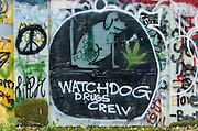 Street art painting in old mill building in Vernonia, Oregon shows a drug theme