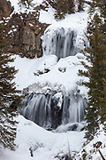 Undine Falls during winter in Yellowstone National Park