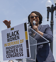 April 30, 2019 - Washington, District of Columbia, U.S. - United States Representative Ayanna Pressley, Democrat of Massachusetts, speaks during a press event in front of the United States Capitol in Washington, D.C. on April 30, 2019. Several members of Congress attended the event and spoke out against recent tweets by President Donald Trump that attacked Rep. Ilhan Omar. Credit: Alex Edelman / CNP (Credit Image: © Alex Edelman/CNP via ZUMA Wire)