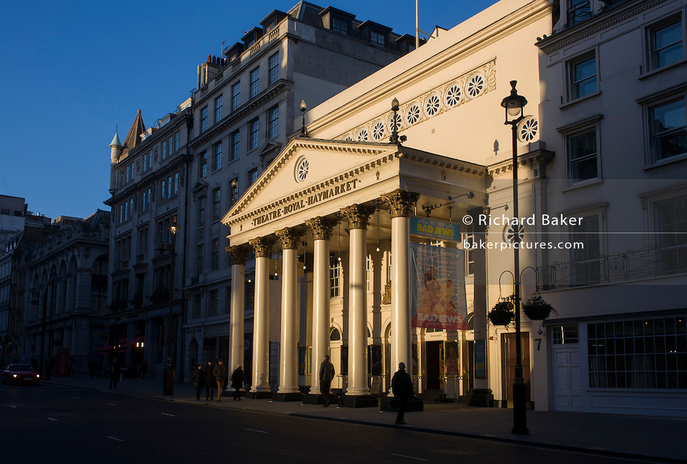 Sunlit exterior of the Haymarket Theatre in central London. The Theatre Royal, Haymarket (also known as Haymarket Theatre or the Little Theatre) is a West End theatre in the Haymarket in the City of Westminster which dates back to 1720, making it the third-oldest London playhouse still in use.