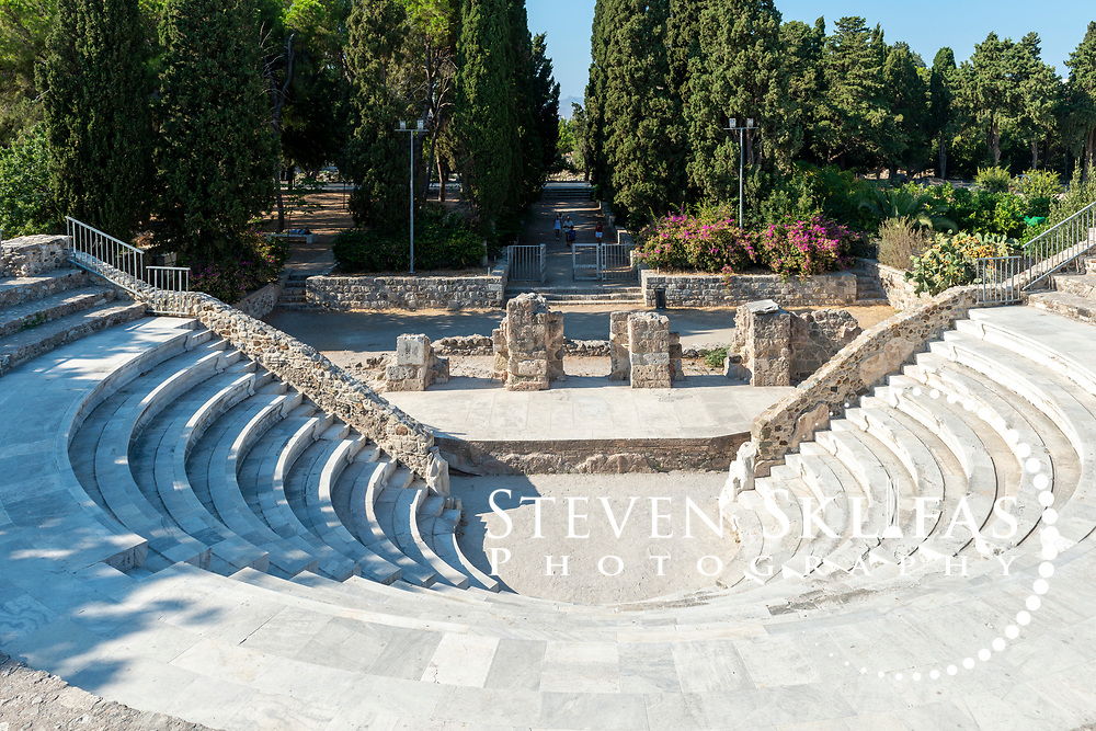 Kos Town.  View of the 2nd century AD Roman Odeum or Odeon. Kos is part of the Dodecanese island group and birthplace of the ancient physician and father of medicine, Hippocrates.