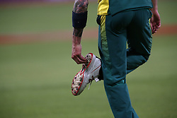 Dale Steyn of South Africa cleans his spikes during the 5th ODI match between South Africa and Australia held at Newlands Stadium in Cape Town, South Africa on the 12th October  2016<br /> <br /> Photo by: Shaun Roy/ RealTime Images
