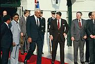 Washington, DC 1984/11/27<br />President Ronald Reagan with Prime Minister  Ratu Mara of Fiji <br /><br />Photograph by Dennis Brack