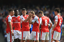 7 May 2017 - Premier League - Arsenal v Manchester United - Concern for Nacho Monreal of Arsenal after taking a blow to the head - Photo: Marc Atkins / Offside.