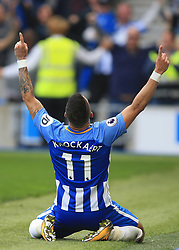 15 October 2017 -  Premier League - Brighton and Hove Albion v Everton - Anthony Knockaert of Brighton and Hove Albion celebrates scoring the opening goal - Photo: Marc Atkins/Offside