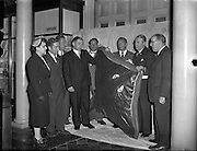 28/08/1957<br /> 08/28/1957<br /> 28 August 1957<br /> <br /> Natural History Museum, Merrion St. Record Irish Skate (205lb) handed over to Mr Lucas, Director of Museum by representatives from Bord Failte and Inland Fisheries Trust.