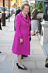 BARONESS THATCHER arriving at a reception for the Castle of Mey held at the Goring Hotel, London on 19th May 2009.