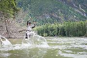 David Page does some close-in chinook salmon wrangling on BC's Dean River.