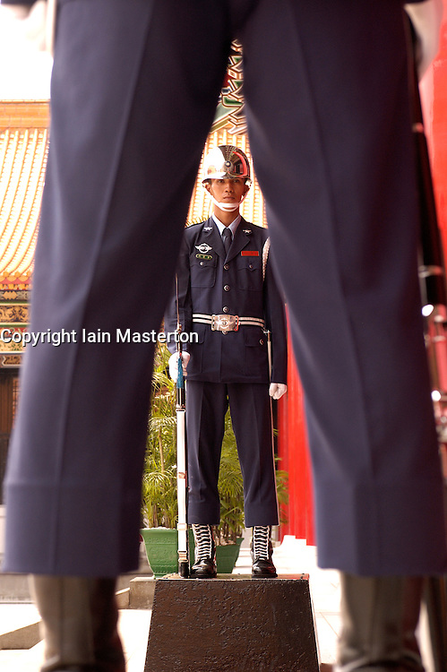 Guards on duty at Martyrs Shrine in central Taipei in Taiwan