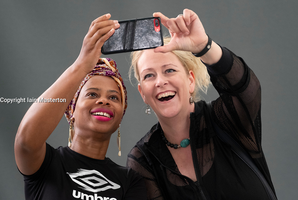 Edinburgh, Scotland, UK; 17 August, 2018. Pictured;H J Golakai (l) and Lilja Sigurðardóttir share a selfie