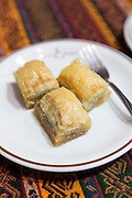Turkish baklava - honey covered filo pastry -  in cafe in The Grand Bazaar, Kapalicarsi, Great Market, Istanbul, Turkey