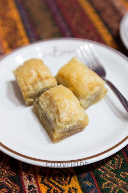 Turkish baklava - honey covered filo pastry -  in cafe in The Grand Bazaar, Kapalicarsi, Great Market, Istanbul, Turkey