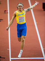 Fredrik Samuelsson of Sweden competes in the Heptathlon Long Jump Men on day two of the 2017 European Athletics Indoor Championships at the Kombank Arena on March 4, 2017 in Belgrade, Serbia. Photo by Vid Ponikvar / Sportida