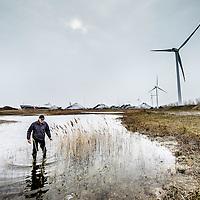 Nederland, Amsterdam, 24 maart 2016.<br /> tijdelijke natuur. Stadsecoloog Martin Melchers is belast met de opdracht om een natuurgebied te verhuizen. Volgend jaar komt er een bedrijf op het terrein. <br /> Op de foto: Stadsecoloog Martin Melchers wadend door de plassen in het natuurgebied rond het Westelijk Havengebied langs het Noordzeekanaal.<br /> <br /> Temporary nature. City ecologist Martin Melchers is commissioned to move a nature reserve. Next year there will be a business on the premises.<br /> In the photo : City ecologist Martin Melchers wading through the puddles in the area around the western harbor area along the North Sea Canal. <br /> <br /> Foto: Jean-Pierre Jans