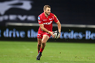 Paul Asquith of the Scarlets. Guinness Pro14 rugby match, Ospreys v Scarlets at the Liberty Stadium in Swansea, South Wales on Saturday 7th October 2017.<br /> pic by Andrew Orchard, Andrew Orchard sports photography.