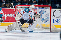 KELOWNA, CANADA - JANUARY 22: Jordon Cooke #30 of the Kelowna Rockets defends the net against the Everett Silvertips on January 22, 2014 at Prospera Place in Kelowna, British Columbia, Canada.   (Photo by Marissa Baecker/Getty Images)  *** Local Caption *** Jordon Cooke;