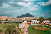 CS01627-16. Arizona Biltmore, Bathhouse & Cabanas, Northeast Corner, Twenty-fourth Street & Missouri Avenue, Phoenix, Arizona. Camelback Mountain in the background.