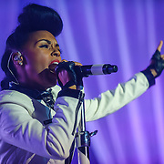 """WASHINGTON, DC - October 14th, 2013 - Grammy Award nominee Janelle Monae performs at the Lincoln Theater in Washington, D.C. Monae's performance included a cover of The Jackson 5's """"I Want You Back"""" as well as her singles """"Tightrope"""" and """"Q.U.E.E.N."""" (Photo by Kyle Gustafson / For The Washington Post)"""
