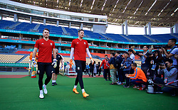 NANNING, CHINA - Tuesday, March 20, 2018: Wales' goalkeeper Chris Maxwell and goalkeeper Wayne Hennessey during a training session at the Guangxi Sports Centre ahead of the opening 2018 Gree China Cup International Football Championship match against China. (Pic by David Rawcliffe/Propaganda)