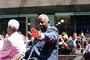 Hank Aaron at the Major League Baseball All-Stars and 49 Hall of Famers ride up Sixth Avenue in All Star-Game Red Carpet Parade Presented by Chevy on July 15, 2008