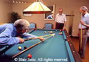 Active Aging, Senior Citizens, Retired, Activities, Retired Elderly Men Play Pool, Retirement Community