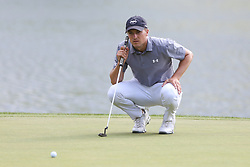 June 21, 2018 - Cromwell, Connecticut, United States - CROMWELL, CT-JUNE 21: Jordan Spieth lines up a putt on the 17th green during the first round of the Travelers Championship on June 21, 2018 at TPC River Highlands in Cromwell, Connecticut. (Credit Image: © Debby Wong via ZUMA Wire)